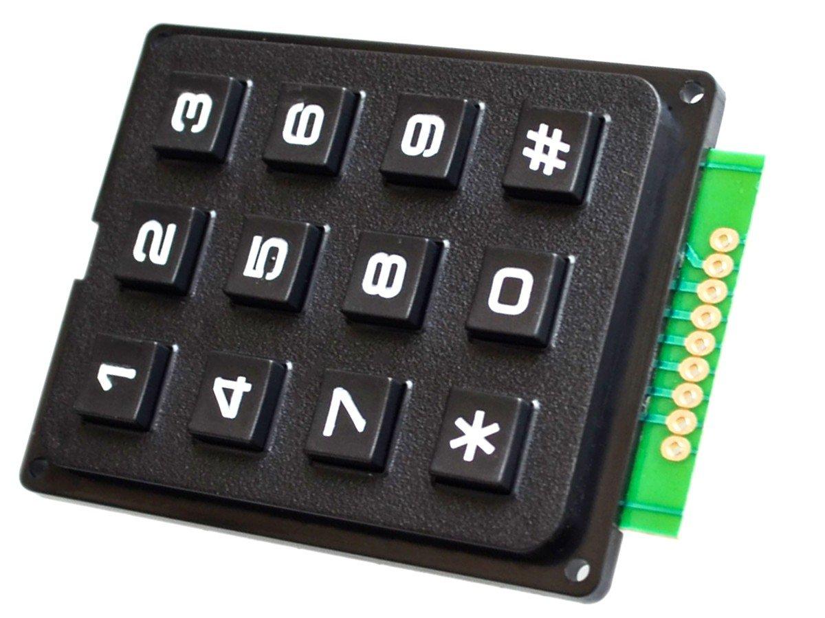 3x4 Array Matrix Keypad, hard keys, black, Arduino etc
