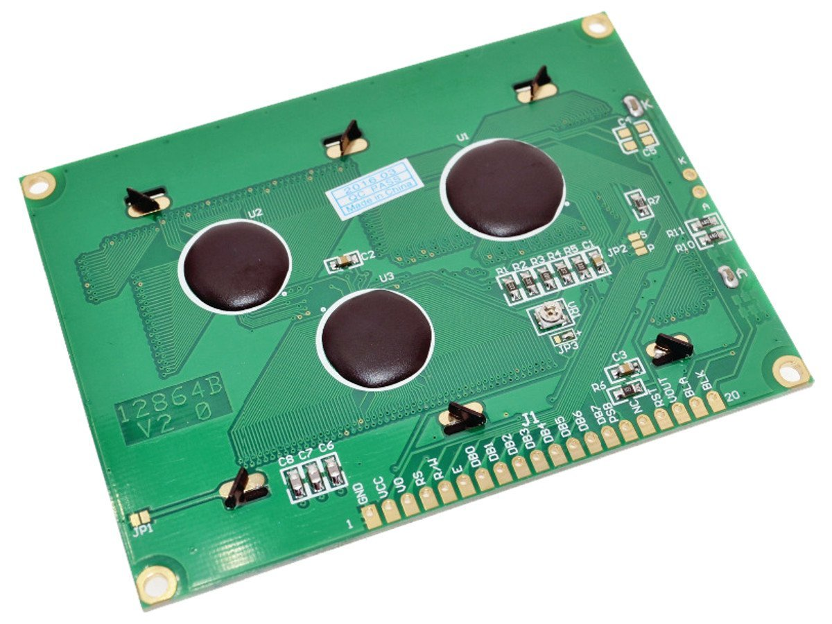 LCD12864 128x64 Graphic Display SPI, green-yellow, ST7920