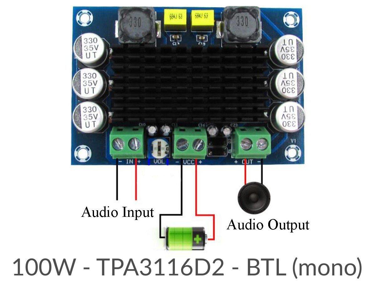 100W Class-D Audio HiFi Amplifier Module, 4 5-26V