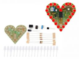 Breathing Heart DIY Electronics Beginners Kit with 22 Red LED