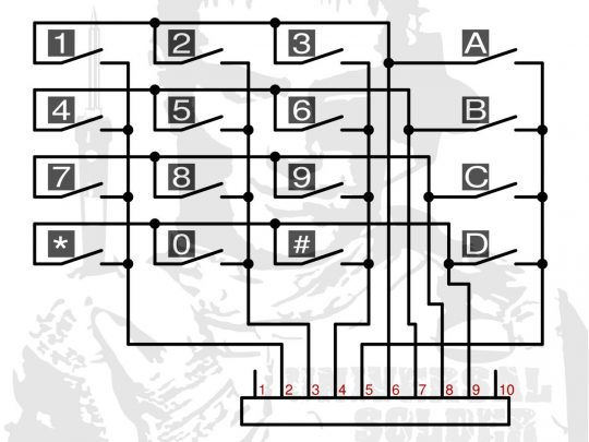 4×4 Array Matrix Keypad – Tactile Hard Keys – Black Plastic