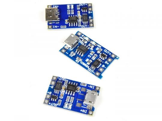 3.7V Li-Ion Lithium Charger 1A Charge – 3A Output – Protection – micro-USB