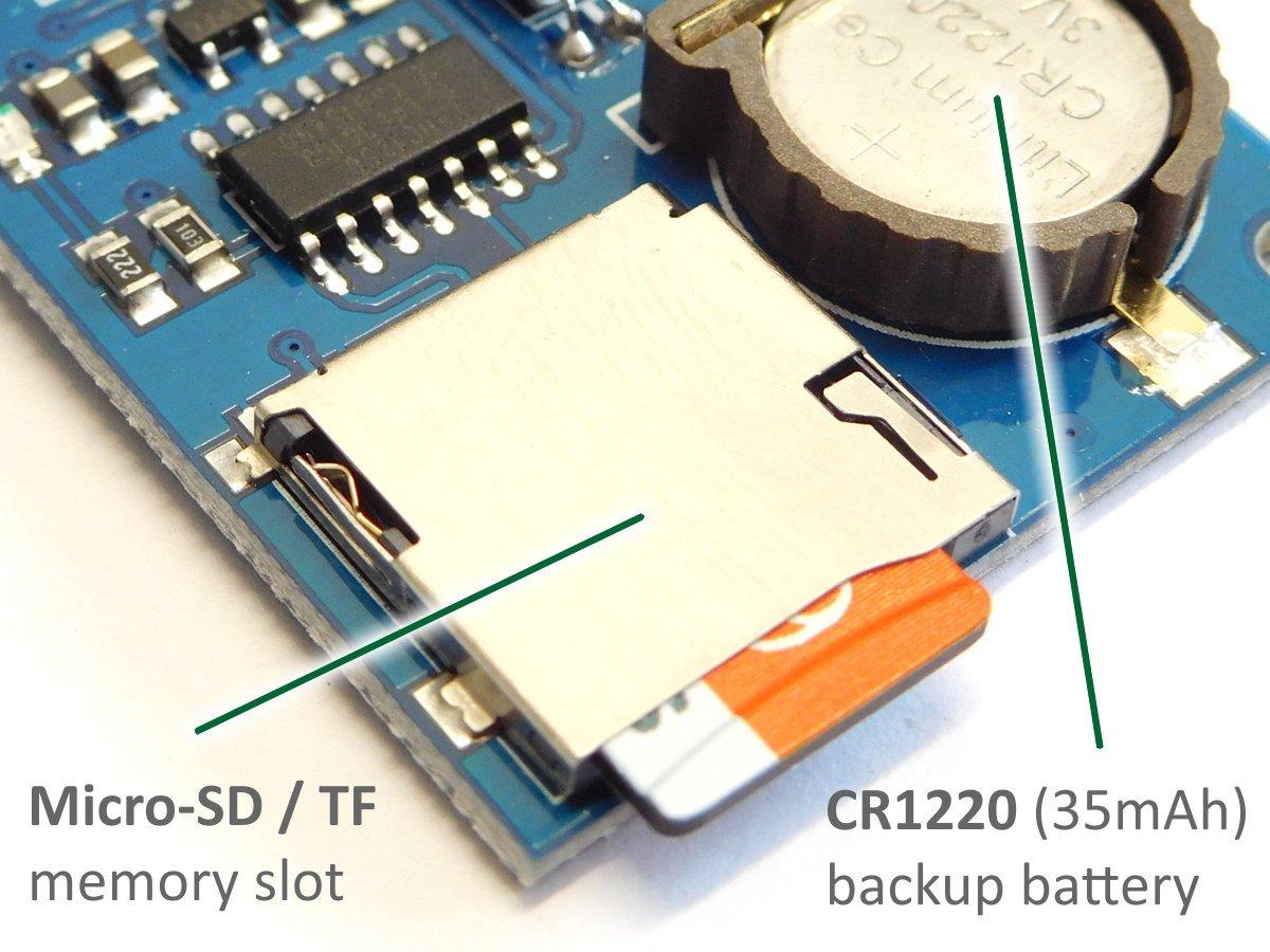 Mini Data Logger DS1307, Micro SD, Backup Battery, I2C, SPI