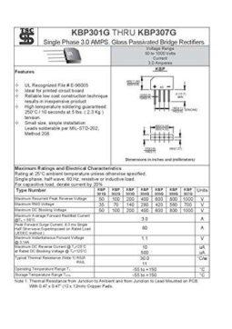 5 pcs Bridge Rectifier KBP307G 3A 1000V Single Phase