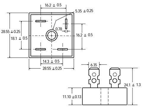 2 pcs Bridge Rectifier KBPC5010 50A 1000V (700V RMS) Single Phase