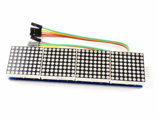 8×8 64-Dot-Matrix, Green, 4 Module Cluster, Arduino Library