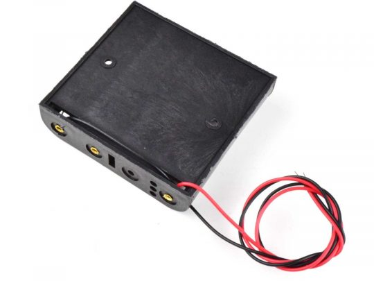 Battery Box Holder for 4x AA 1.5V Batteries, 25cm wires, open ends