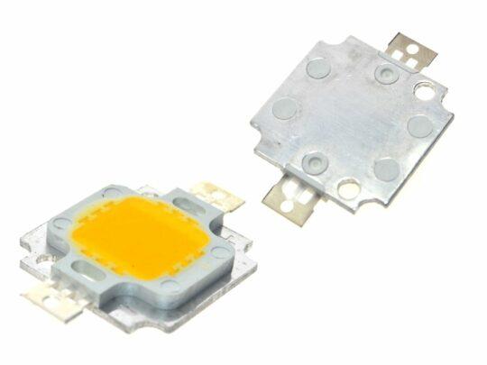 5 pcs 10W High-Power LED 20x20mm, 10 Watt (10V / 1A), daylight white