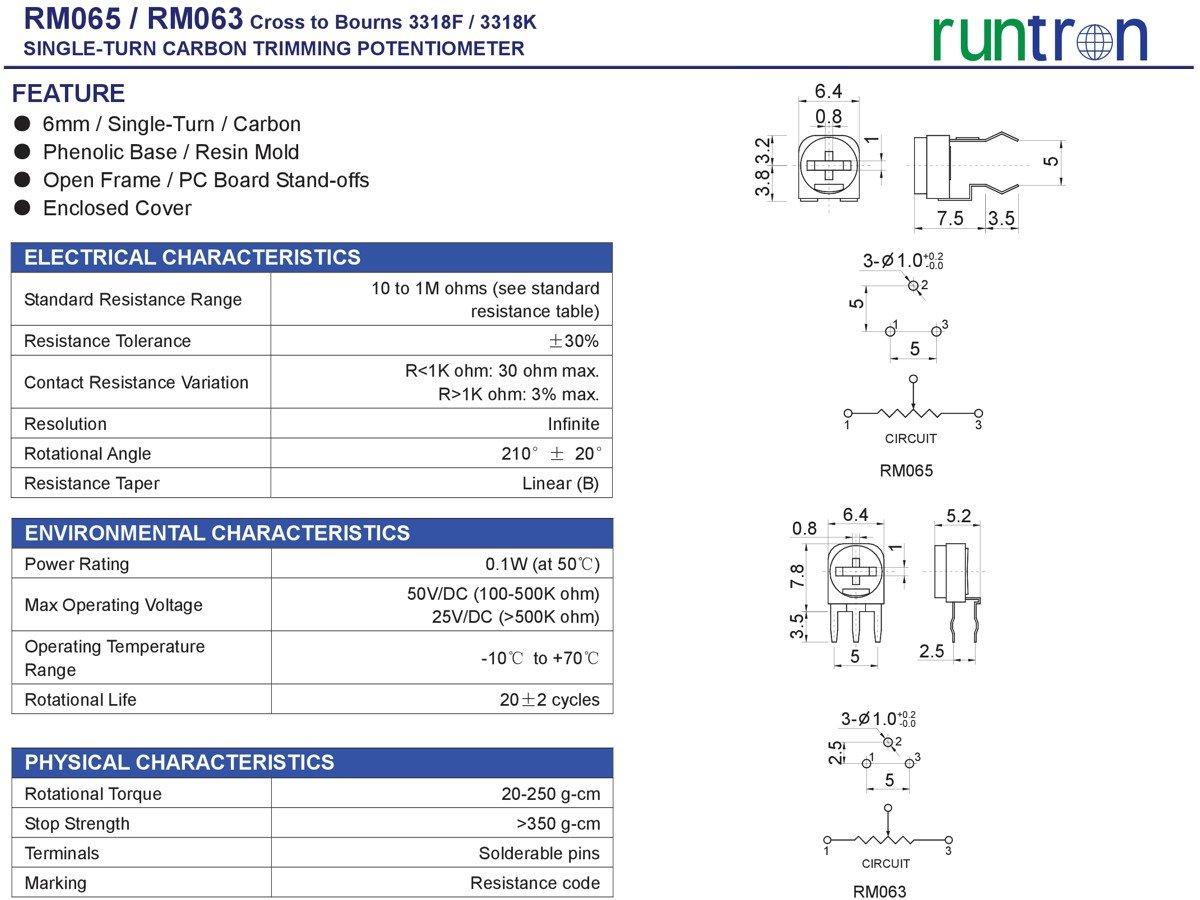 65 pcs Trim Potentiometer RM065 100 Ohm to 1M, 13 Values, 5 pcs Each