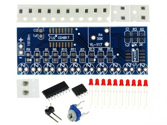 Chaser Light – DIY Solder Learning Kit with NE555 and CD4017