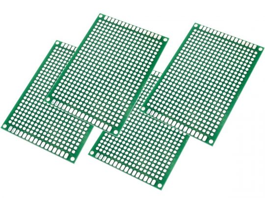 4 x Double Sided Perforated Prototyping PCB 50 x 70 mm