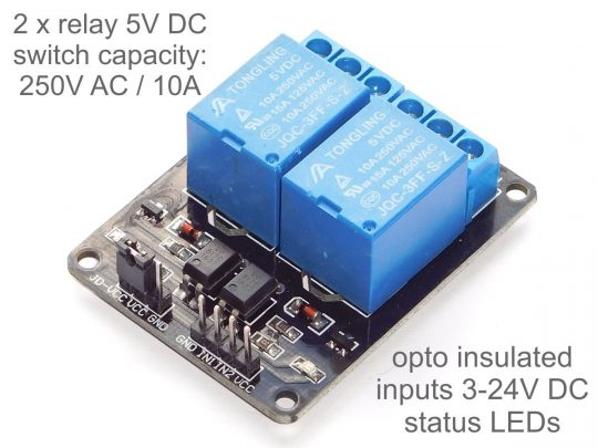 2 Relay Board 10A / 250V – Opto-Insulated Inputs 3-24V for Arduino etc.