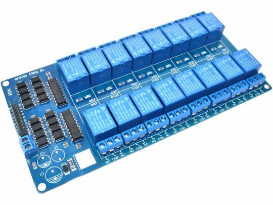 16 Relay Module 250V 10A – Optocoupler Input – 5V Power Supply