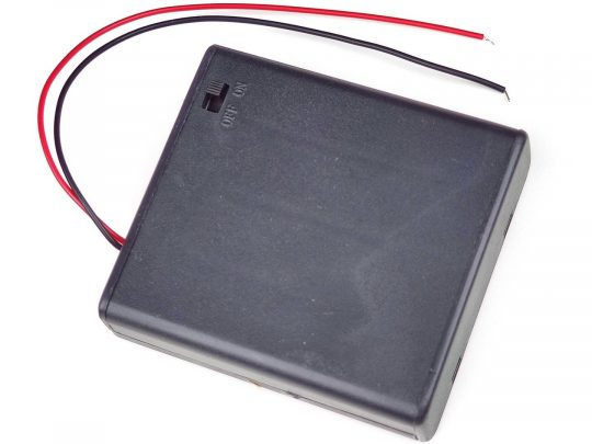 Battery Box Holder 4x AA with Lid and Power Switch