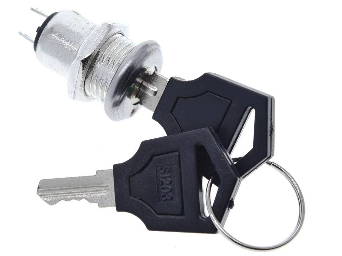 Miniature Electronic Key Switch with 2 Keys – 12mm