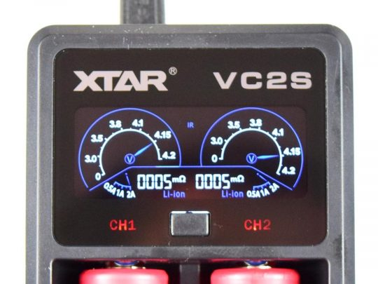 XTAR VC2S Dual Bay Lithium Battery Charger with LCD