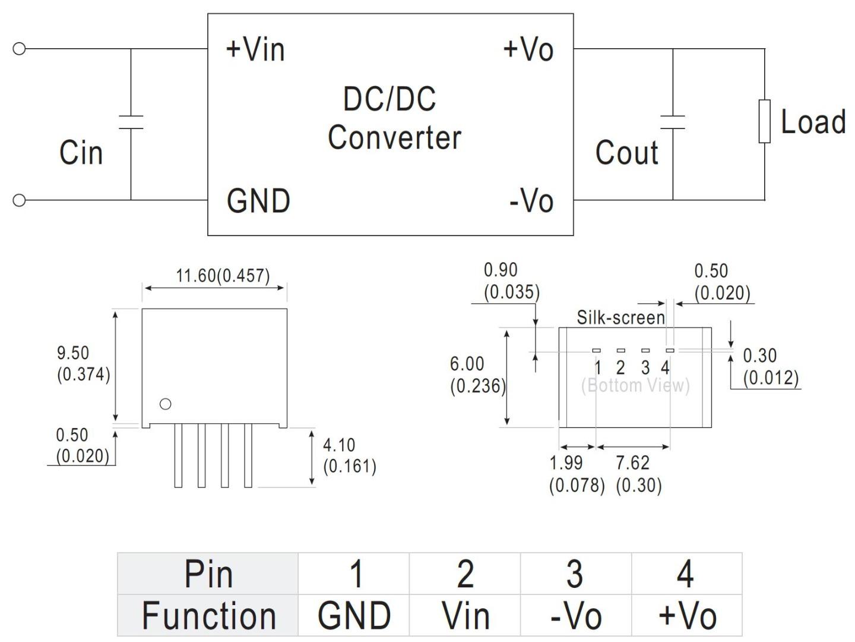 DC-DC Isolation Converter 5V to 5V – 200mA B0505S-1W