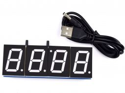 4 Digit 1 Inch Clock DIY Soldering Kit – with Alarm – Temperature – Night Dimming