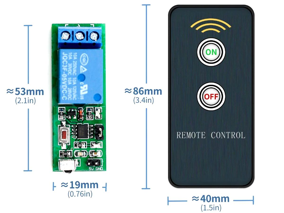 IR Remote Relay Kit – Switches any load up to 10A with Programmable IR Remote Control