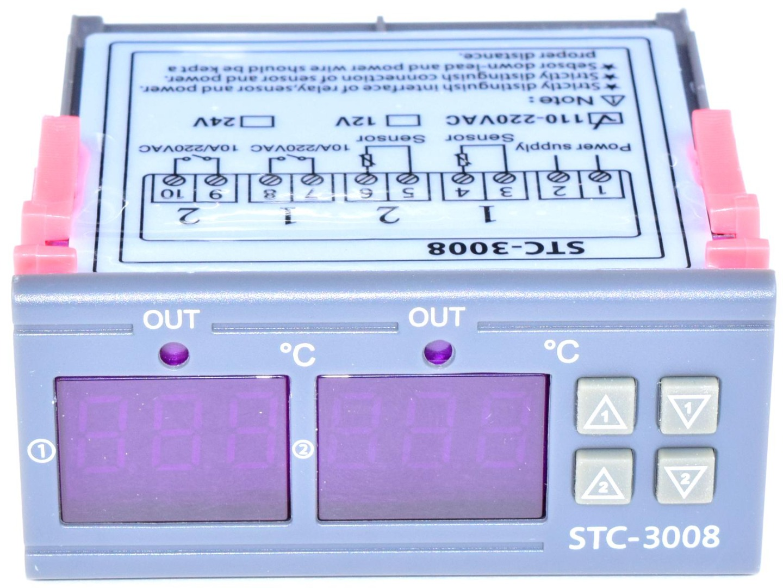 CANADUINO STC-3008 Dual Temperature Controller Thermostat 110-220V