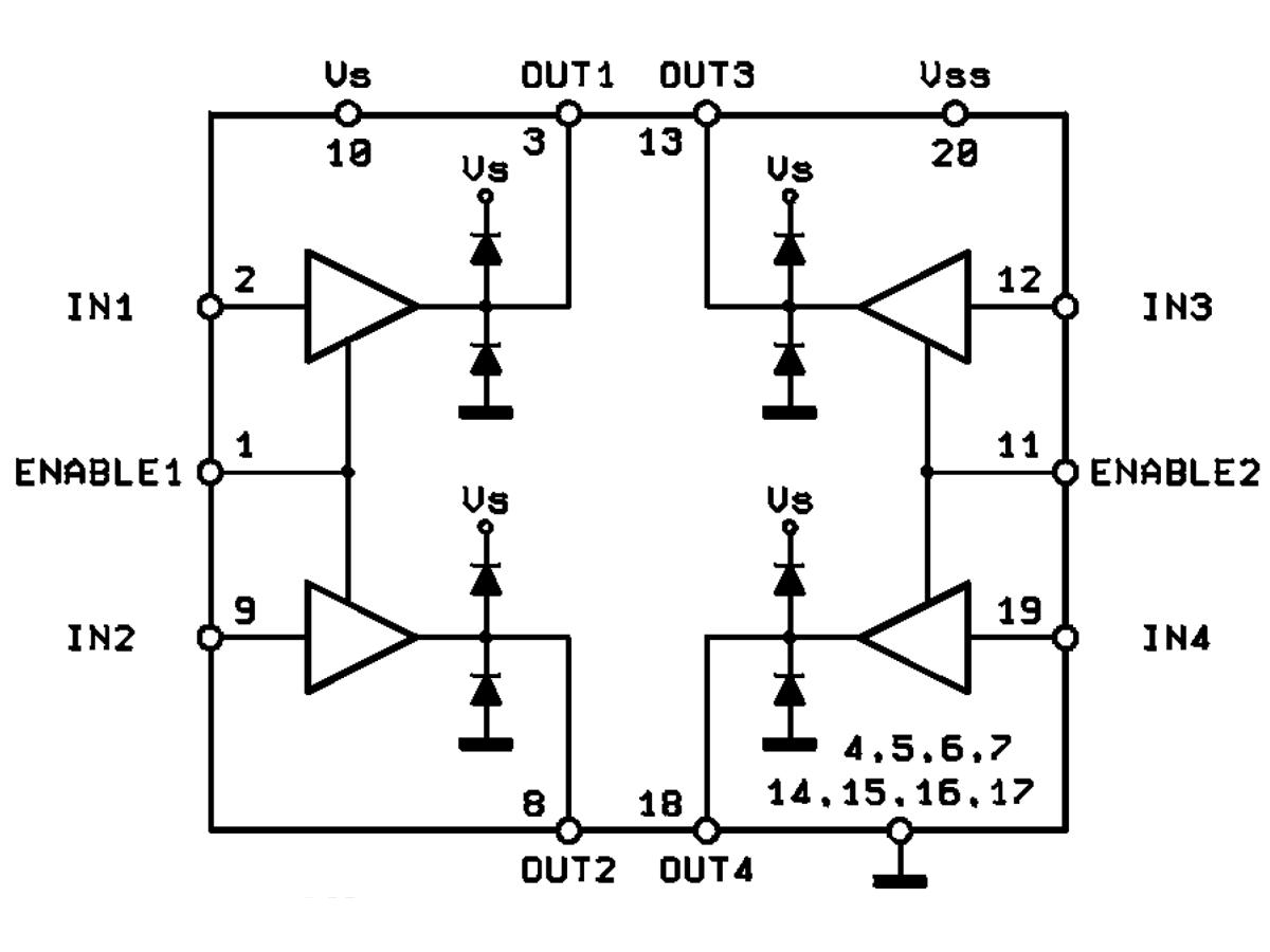 L293D Quadruple Half-H Driver DIP16