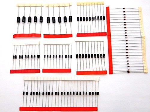 100 Diodes Assortment Kit 1N4007 1N5819 1N4148 1N5399 1N5408 FR107 1N5822 FR207