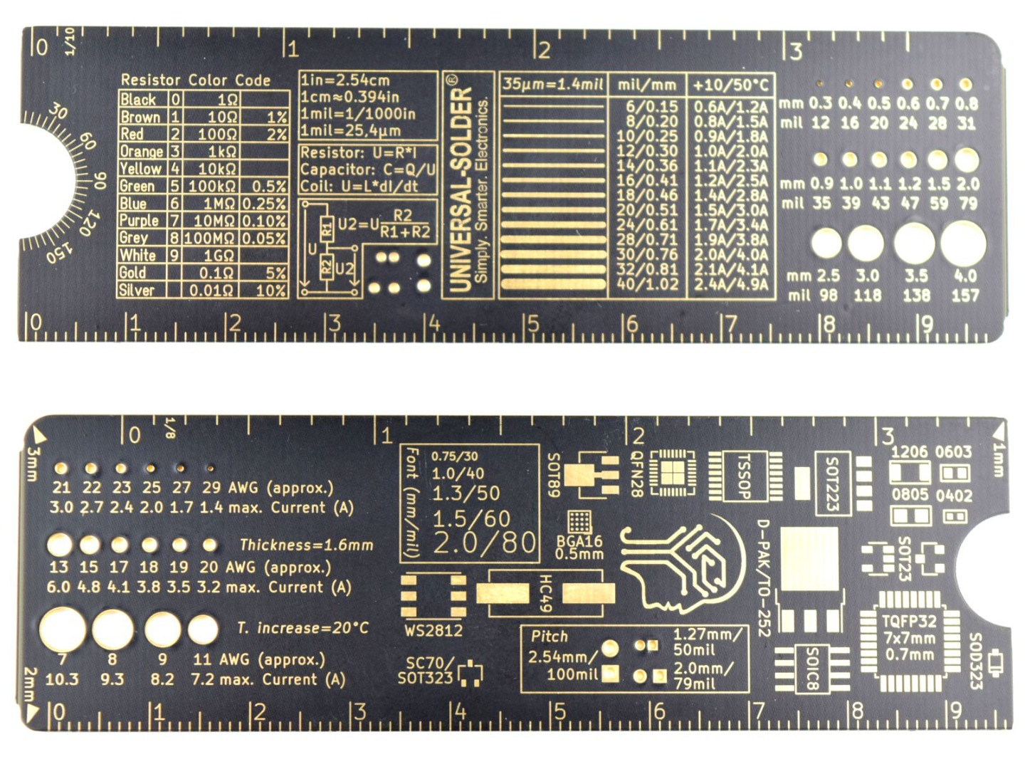 CANADUINO PCB Ruler 10 cm – Black and Gold – SMD Foot Prints – Wire Gauges etc.