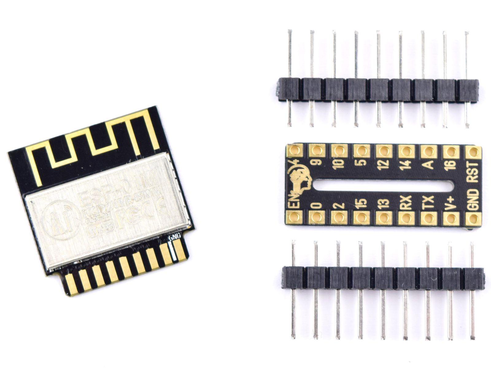 Ai-Thinker ESP-01M ESP8285 with DIP-18 Adapter – Smallest Breadboard Wi-Fi IoT Module