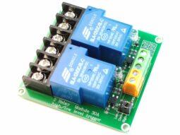 2 Relay Board 10A / 250V – Opto-Insulated Inputs 3-24V for Arduino etc.