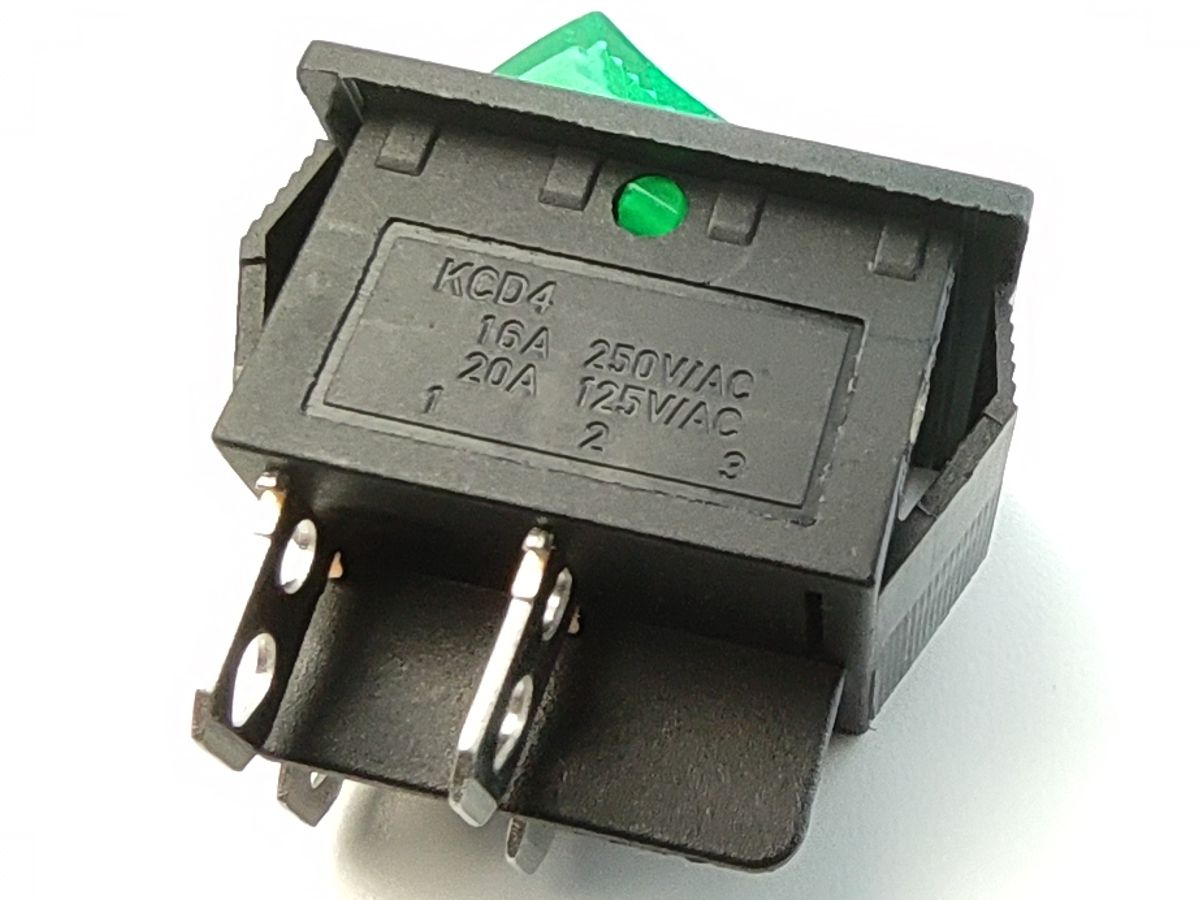 Rocker switch ON-OFF 2-phase 20A 125VAC (green)