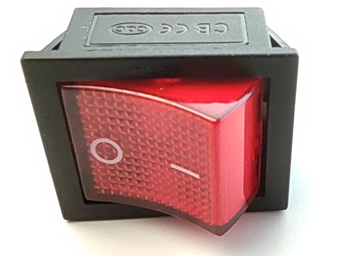 Rocker switch ON-OFF 2-phase 20A 125VAC (red)
