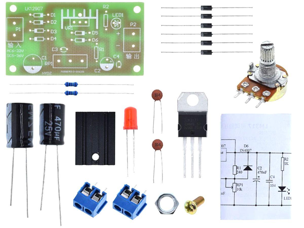 Voltage Regulator DIY Soldering Kit adjustable 1.25V to 12V – 1.5A – AC-DC input